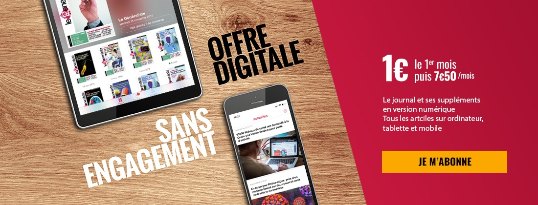 Offre digitale sans engagement - Le Généraliste : 1€ le premier mois, puis 7€50 par mois